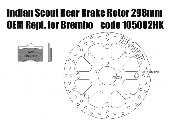 Indian Scout - Disco freno trasero 300 mm y pastillas para kit Brembo
