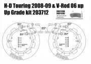 Harley Davidson Touring 2008-09 y V-Rod 2006-10 - Kit discos de freno 320 mm y pastillas - KIT