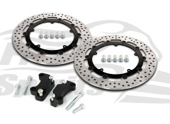 Harley Davidson Dyna disco doble (ruedas en aleacion) 08-17 - Kit discos de freno (negro) 320 mm y pastillas